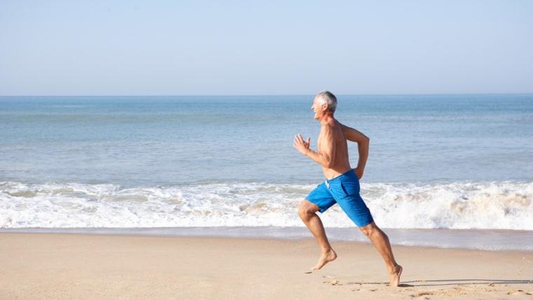 Senior man running on beach; Shutterstock ID 68247049; PO: TODAY.com