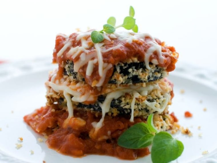 Baked Breaded Eggplant with Marinara