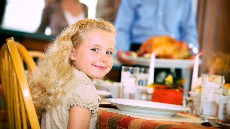 Thanksgiving: Little Girl Ready For Turkey Dinner; Shutterstock ID 215428762; PO: today.com
