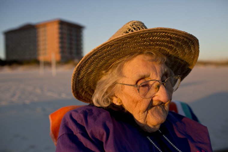 Ruby Holt, a 100-year-old Tennessee native, reflects as she sees the ocean for the first time in her life Wednesday, Nov. 19, 2014, in Orange Beach, A...