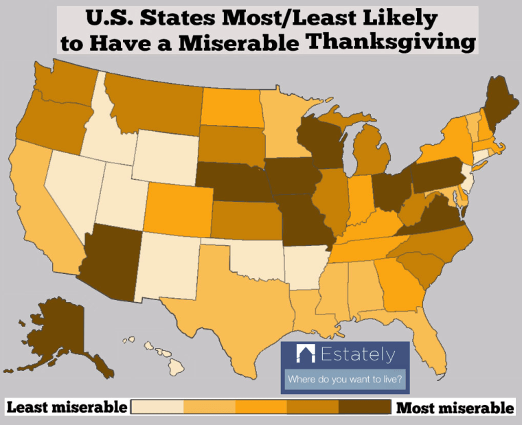 Thanksgiving misery index by state