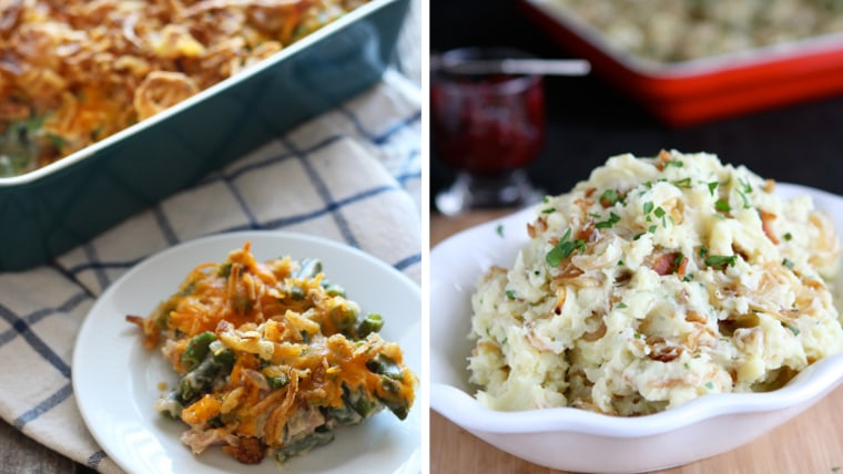Green bean casserole and mashed potatoes: Thanksgiving sides