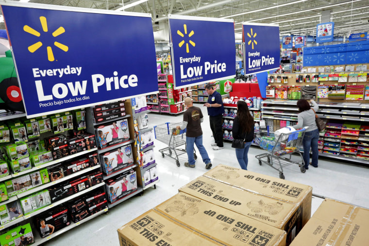 Residents shop at Wal-Mart as the store prepares for Black Friday in Los Angeles, California.