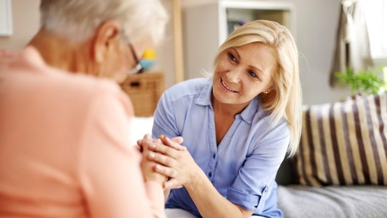elderly, senior, daughter, speak, help, visit, old