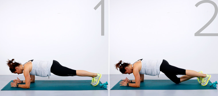 Image: Jenna Wolfe demos the plank knee dip exercise