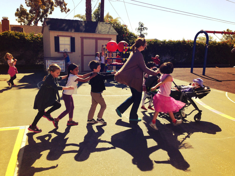 Gwendolyn enjoys recess games with her friends.