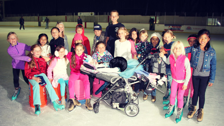 Gwendolyn's 7th birthday party was a Frozen themed ice skating party with her friends.
