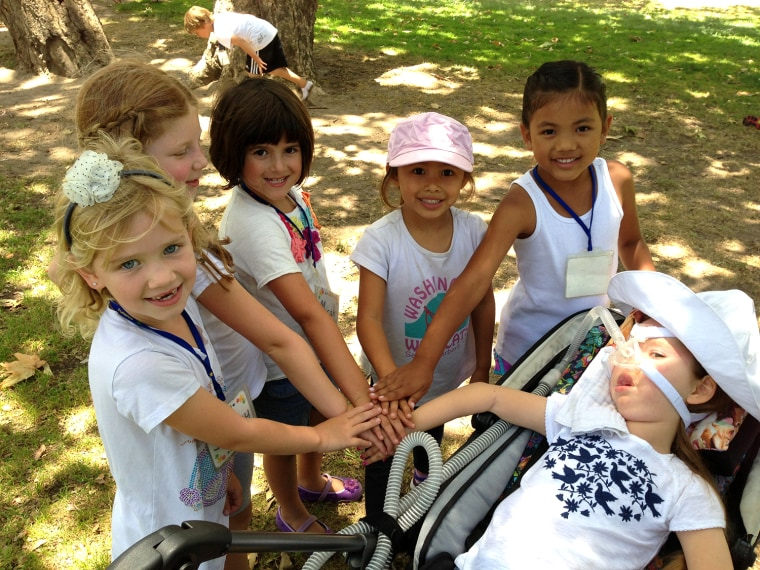 All for one and one for all: Gwendolyn and friends playing together on a field trip.