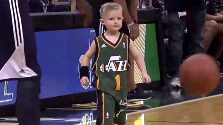 Five-year-old J.P. Layton, a Utah boy battling leukemia, took the court for his favorite team, the Utah Jazz, in a team scrimmage on Monday night.