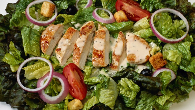 Chicken Caesar Salad Food, Freshness, Food And Drink, Horizontal, Indoors, Close-up, Salad, Tomato, Lettuce, Chicken, Color Image, Crouton, Meal, No P...