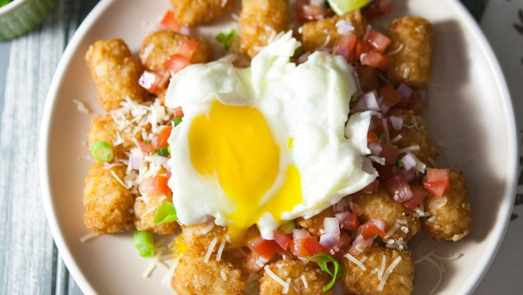 Tater tots nachos with eggs from The Little Kitchen