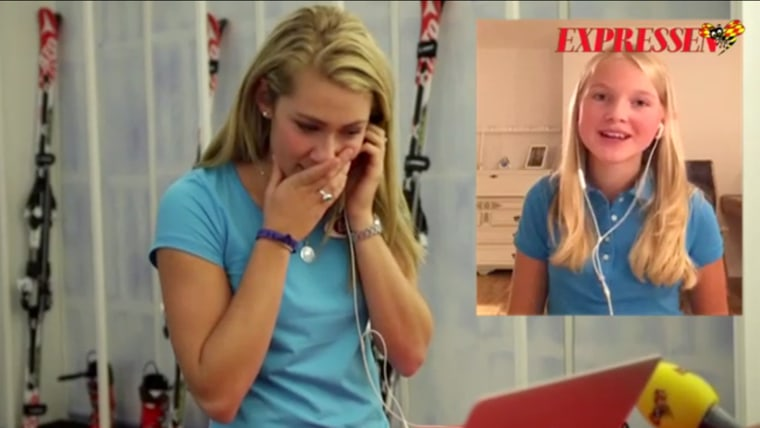 Shiffrin reacts to girl