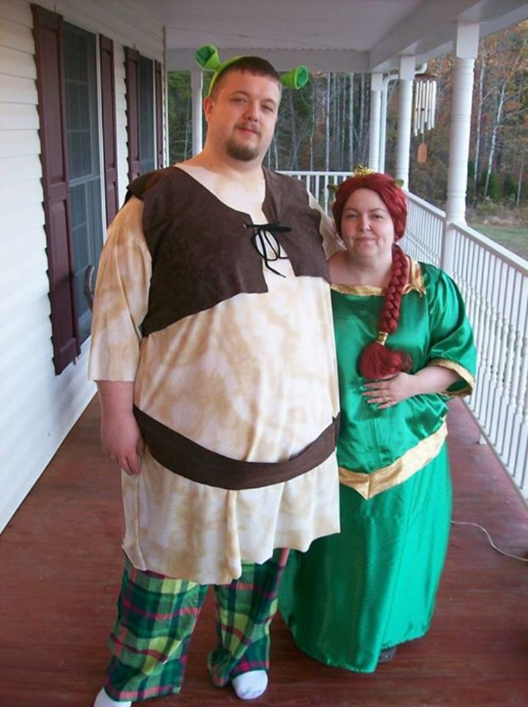 Shrek and Fiona--I just couldnu0027t get him to do the green facepaint though. #OrangeRoomToday  sc 1 st  Today Show & Couples Halloween costumes: Shrek and Fiona plus 8 more