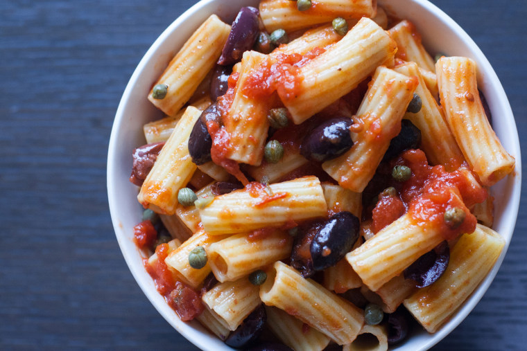 3-ingredient pasta recipe with tomato, olive and capers from Giada De Laurentiis; photos by Megan O. Steintrager