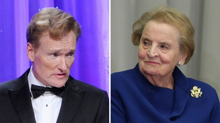 Conan O'Brien, left, and Former Secretary of State Madeleine Albright