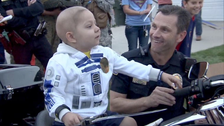 The town of West Jordan, Utah, held a parade in honor of Ethan Van Leuven's fifth birthday, a month before the actual date.