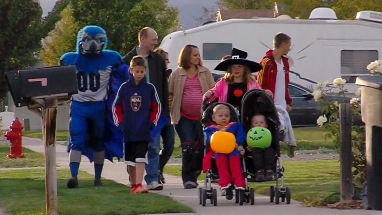 The whole community of West Jordan, Utah, came together to celebrate Halloween early so that Ethan Van Leuven could take part in the festivities after being diagnosed with terminal cancer.