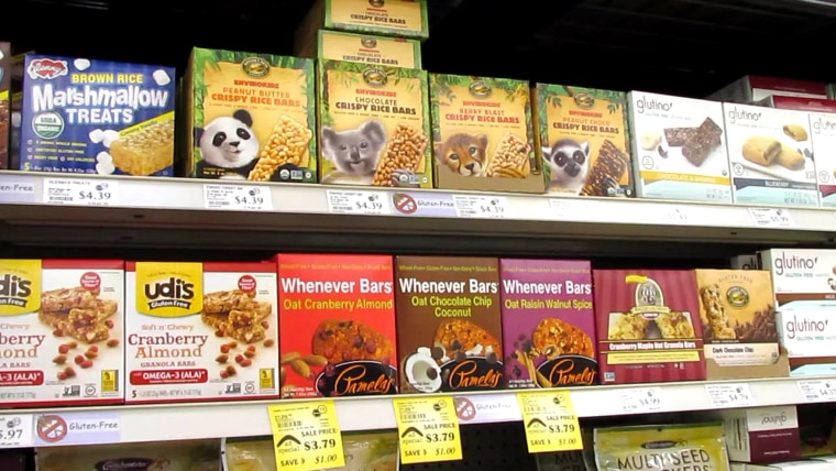 Gluten free products in grocery store.