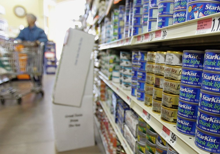 FILE: DES PLAINES, IL - JANUARY 27:  Cans of tuna fish are displayed in a grocery store January 27, 2006 in Des Plaines, Illinois. New data released b...