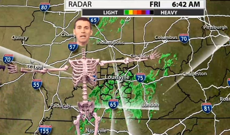 Kentucky weatherman Jude Redfield got in the Halloween spirit for his forecast on Friday.