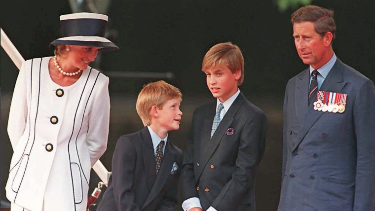 Princess Diana, Prince Harry, Prince William and Prince Charles gather for the commemorations of V-J Day in 1995.