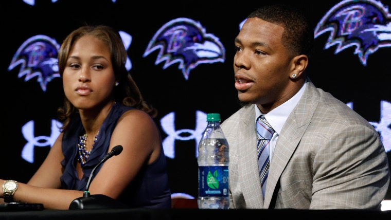 FILE - In this May 23, 2014, file photo, Baltimore Ravens running back Ray Rice, right, speaks alongside his wife, Janay, during a news conference at ...