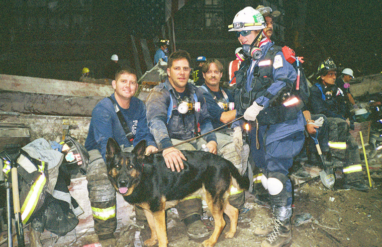 Dog handler Roseann DeLuca and her dog Logan, a female German shepherd who searched the pile at Ground Zero after the Sept. 11, 2001 terrorist attacks.