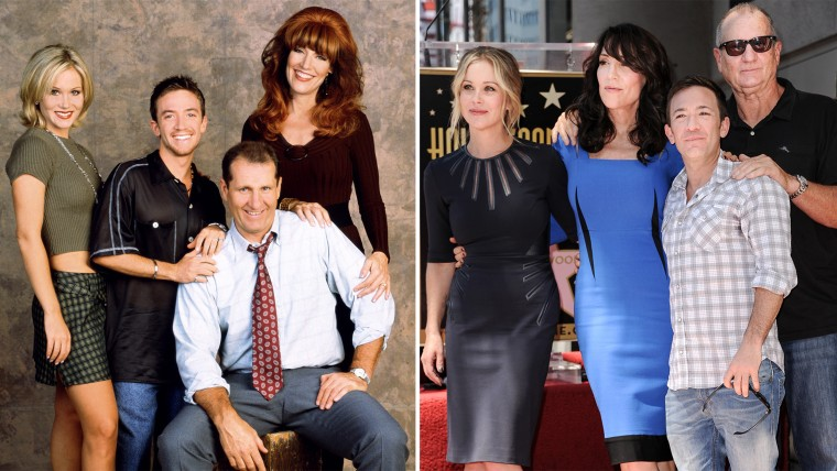 """Image: Then and now with """"Married... With Children"""" stars Christina Applegate, David Faustino, Ed O'Neill, Katey Sagal"""