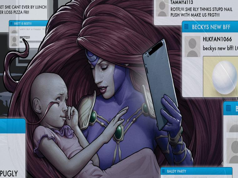 Medusa comforts a cyberbullying victim.