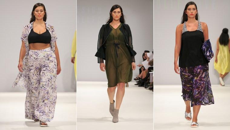 Looking good: Models walk the runway for British retailer Evans at London Fashion Week.