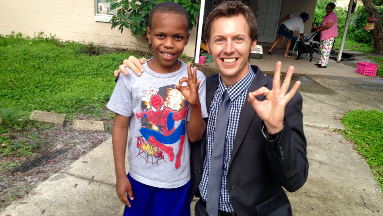 Paul Ezekial Fagan, 10, and WFTS reporter, Cameron Polom