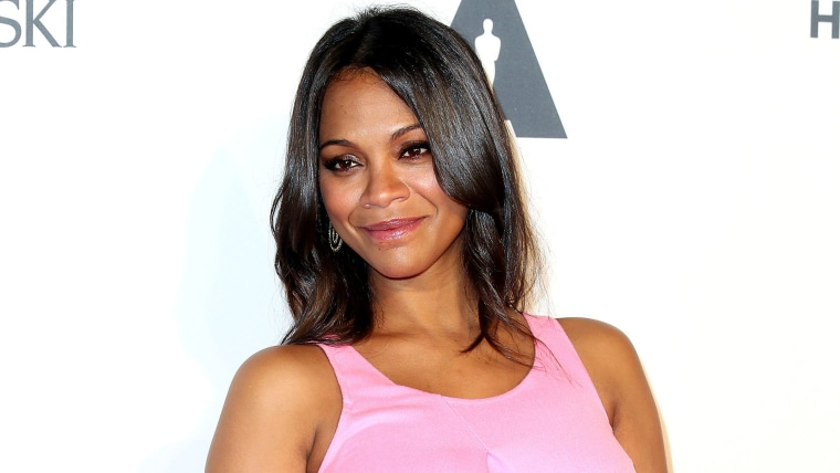 Zoe Saldana attends The Academy of Motion Picture Arts and Sciences' Hollywood Costume Opening Party on October 1, 2014 in Los Angeles.