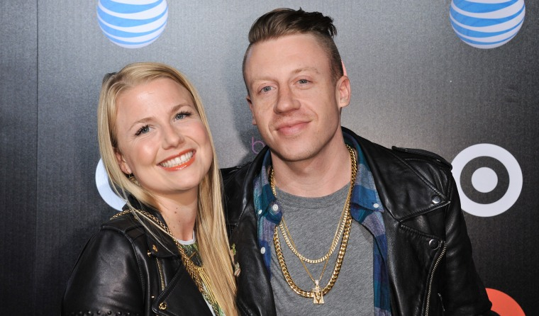 Macklemore, right, and Tricia Davis arrive at Beats Music Launch Party at the Belasco Theatre, Friday, Jan. 24, 2014, in Los Angeles, Calif. (Photo by...