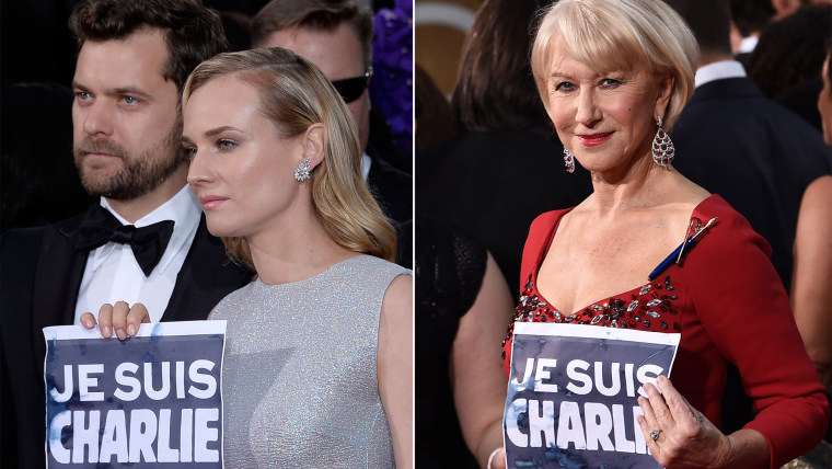 'Je suis Charlie' on the red carpet at the Golden Globes.