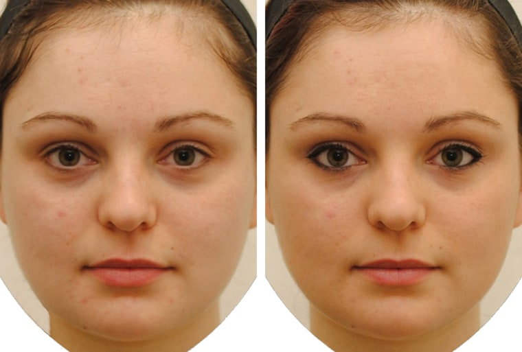 Woman seen with and without makeup