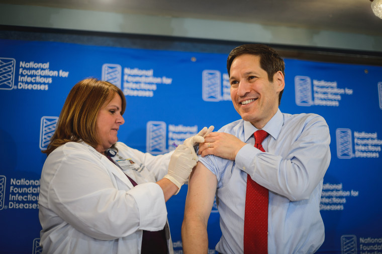 Thomas Frieden, MD, MPH, Director of the Centers for Disease Control and Prevention (CDC) receives a flu shot.