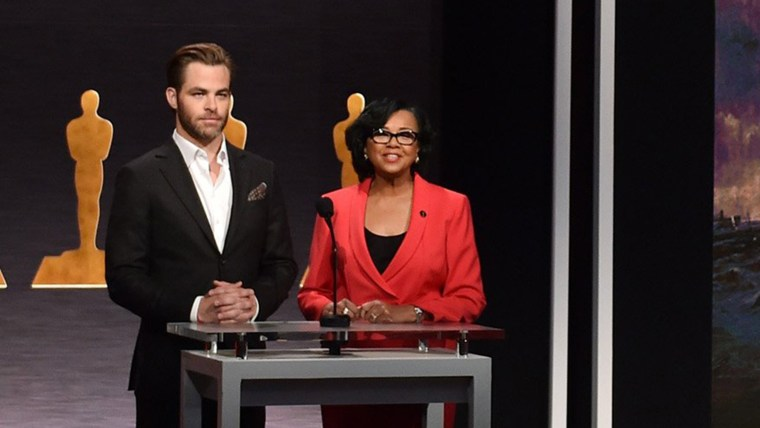 Actor Chris Pine and Academy President Cheryl Boone Isaacs