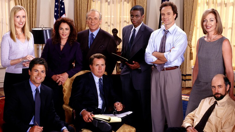 THE WEST WING, clockwise from top left: Janel Moloney, Stockard Channing, John Spencer, Dule Hill, Bradley Whitford, Allison Janney, Richard Schiff, M...
