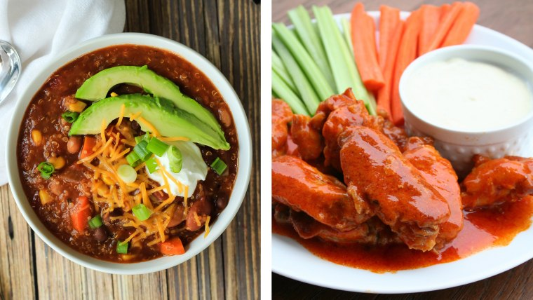 Slow Cooker Chili from Joyful Healthy Eats; Slow Cooker Wings from The Magical Slow Cooker