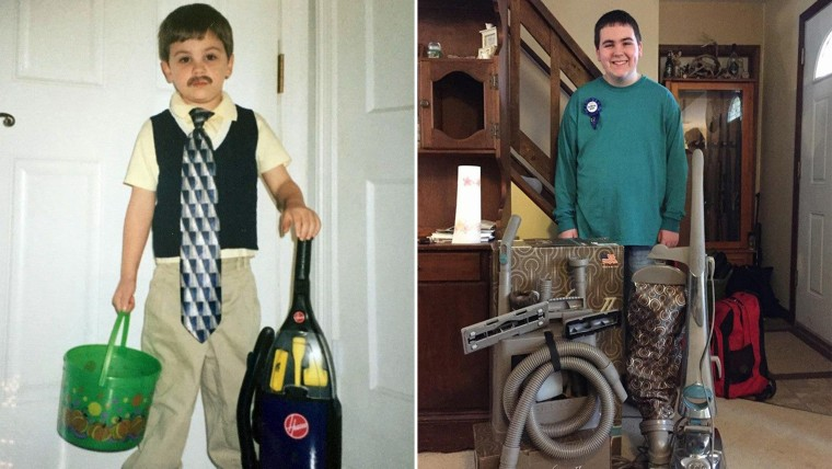Dylan Johnson, then and now at 14, has always loved vacuum cleaners.