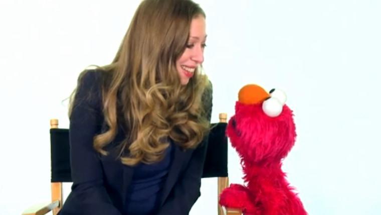 Chelsea Clinton with Elmo