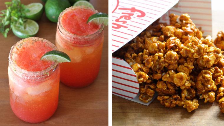 Michelada (Fake Free Food) and Sriracha Popcorn (Dinner with Julie)