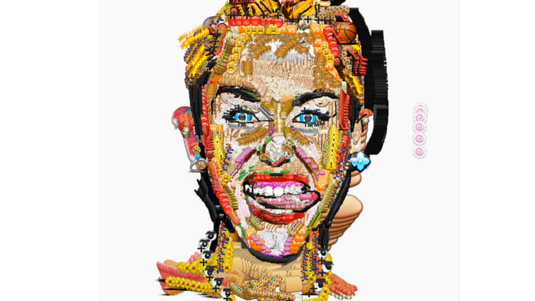 Rapper Yung Jake used emoji to create portraits of celebrities including Miley Cyrus.
