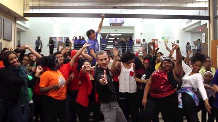 "Image: \""Uptown Funk\"" dance routine"