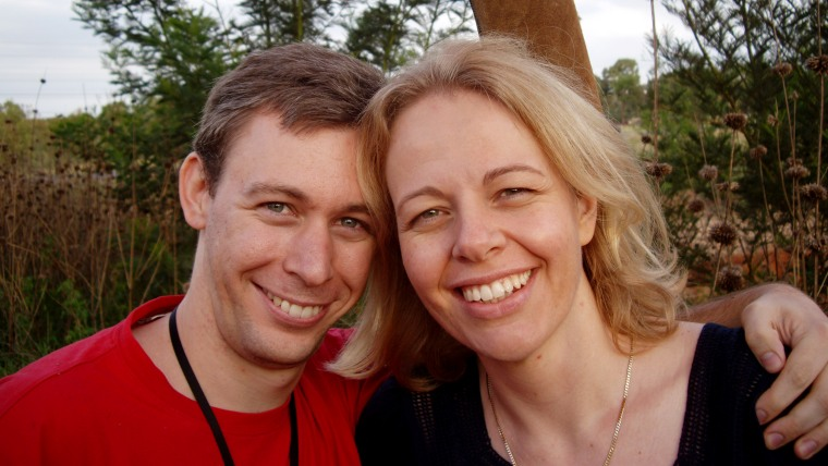 Martin and his wife, Joanna, seen here after getting engaged on a hot air balloon ride in 2008.