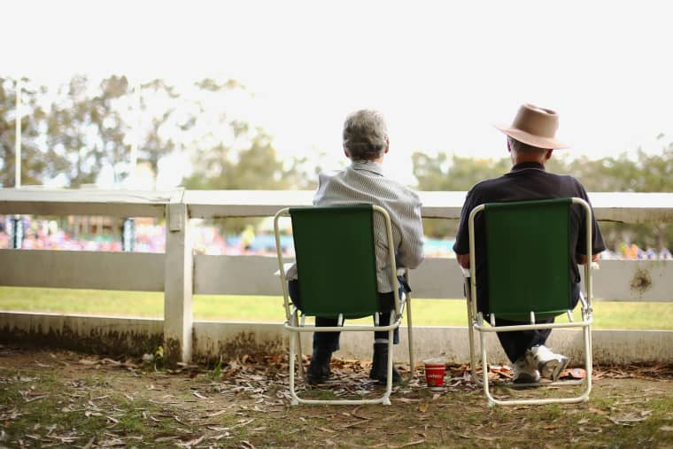 Image:  A older couple look on in Nowra, Australia  on September 22, 2013.