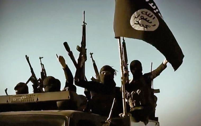 Image: ISIS fighters raise their weapons as they stand on a vehicle mounted with the group's flag