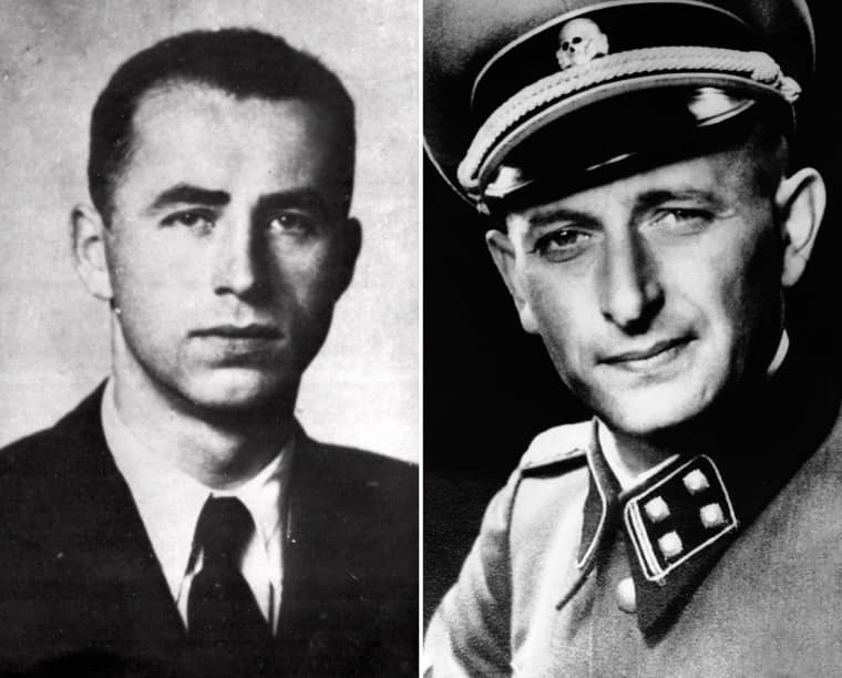 Alois Brunner, left, was a top aide to Adolf Eichmann, right.