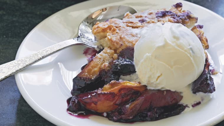 Peach Blueberry Skillet Cobbler