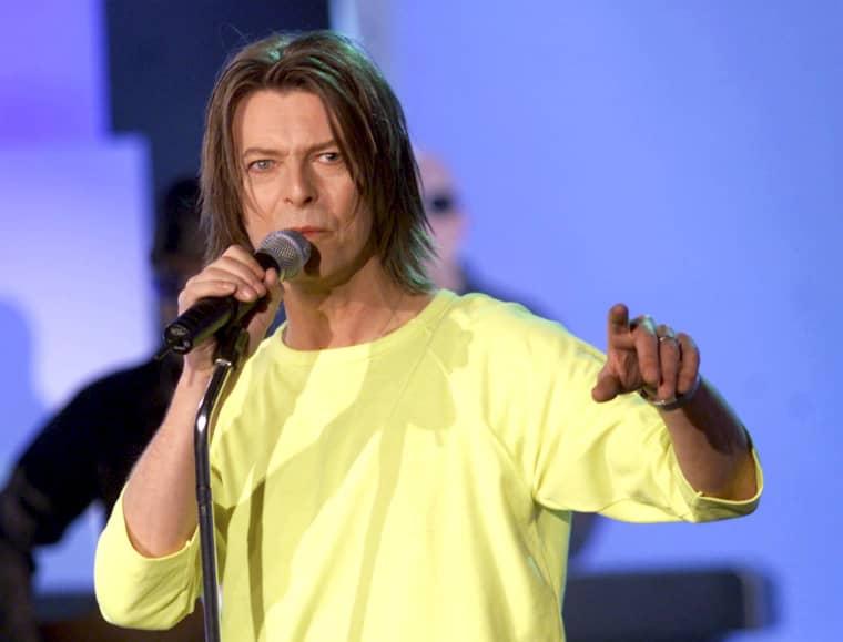 Image:British singer David Bowie performs